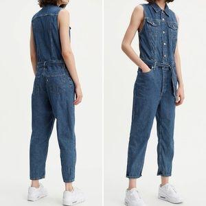 Levi's Cropped Taper Medium Blue Denim Jumpsuit S